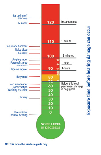 Decibel levels at which damage can occur
